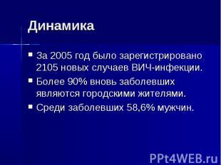 Динамика За 2005 год было зарегистрировано 2105 новых случаев ВИЧ-инфекции.Более