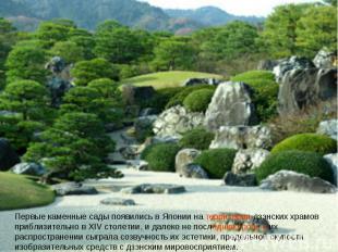 Первые каменные сады появились в Японии на территории дзэнских храмов приблизите