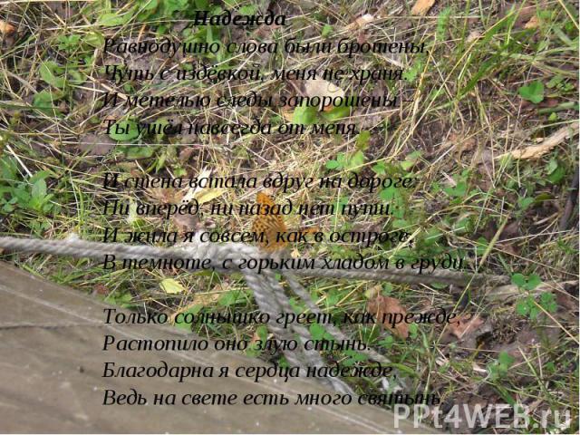 НадеждаРавнодушно слова были брошены, Чуть с издёвкой, меня не храня.И метелью следы запорошены – Ты ушёл навсегда от меня.И стена встала вдруг на дороге:Ни вперёд, ни назад нет пути.И жила я совсем, как в остроге,В темноте, с горьким хладом в груди…