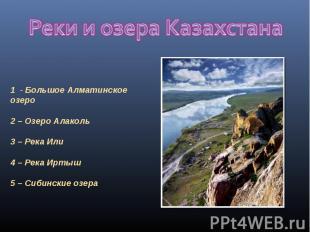 Реки и озера Казахстана 1 - Большое Алматинское озеро 2 – Озеро Алаколь3 – Река