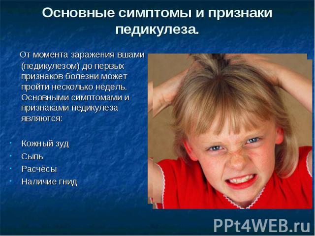 Основные симптомы и признаки педикулеза. От момента заражения вшами (педикулезом) до первых признаков болезни может пройти несколько недель.Основными симптомами и признаками педикулеза являются:Кожный зудСыпьРасчёсыНаличие гнид