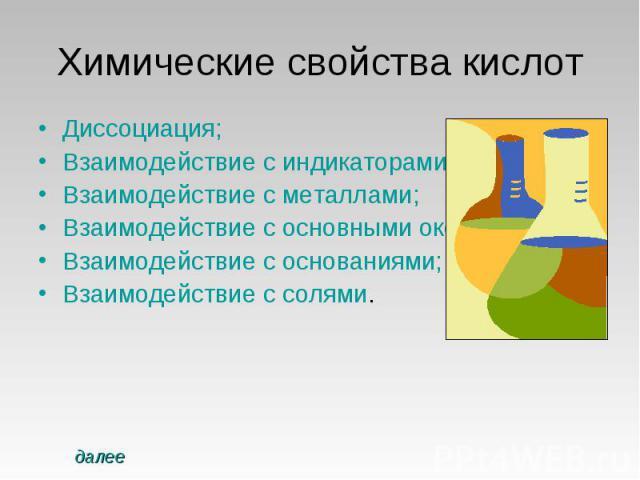 Химические свойства кислот Диссоциация;Взаимодействие с индикаторами;Взаимодействие с металлами;Взаимодействие с основными оксидами;Взаимодействие с основаниями;Взаимодействие с солями.