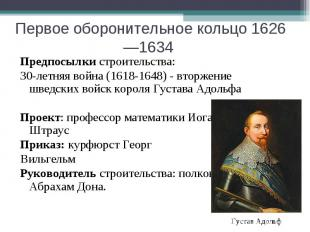 Первое оборонительное кольцо 1626—1634 Предпосылки строительства: 30-летняя войн