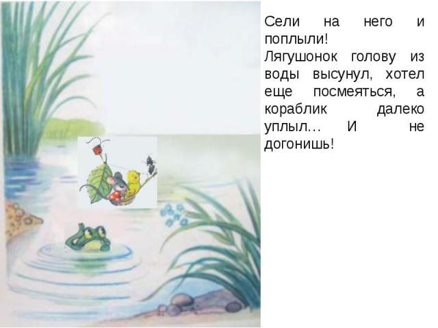 Сели на него и поплыли!Лягушонок голову из воды высунул, хотел еще посмеяться, а кораблик далеко уплыл… И не догонишь!