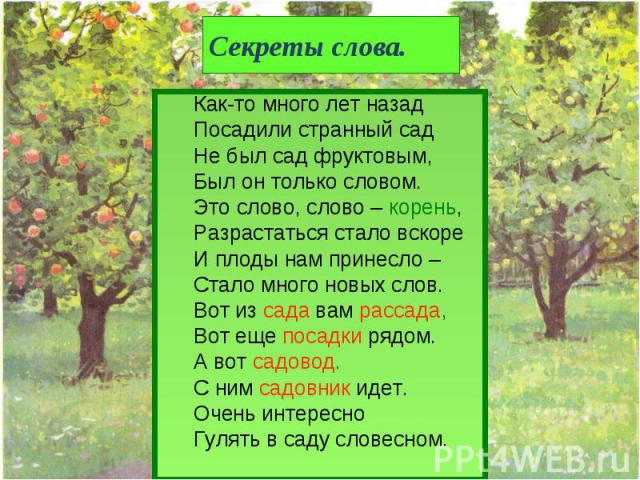Секреты слова. Как-то много лет назадПосадили странный садНе был сад фруктовым,Был он только словом.Это слово, слово – корень,Разрастаться стало вскореИ плоды нам принесло – Стало много новых слов.Вот из сада вам рассада,Вот еще посадки рядом.А вот …