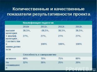 Количественные и качественные показатели результативности проекта