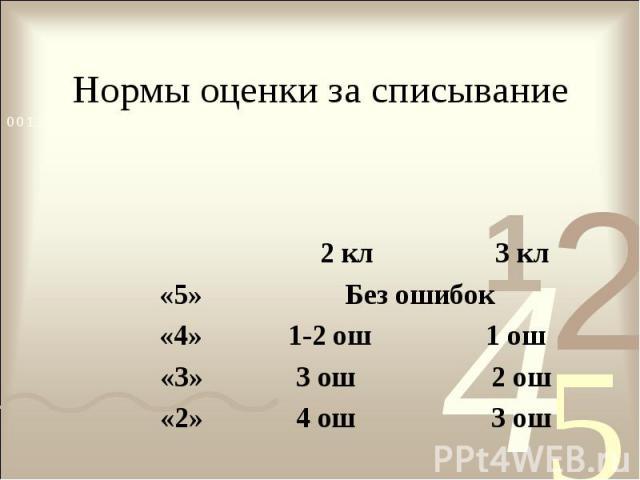 Нормы оценки за списывание 2 кл 3 кл «5» Без ошибок «4» 1-2 ош 1 ош «3» 3 ош 2 ош «2» 4 ош 3 ош