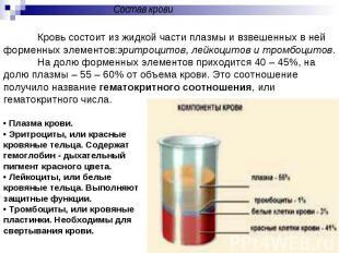 Состав кровиКровь состоит из жидкой части плазмы и взвешенных в ней форменных эл