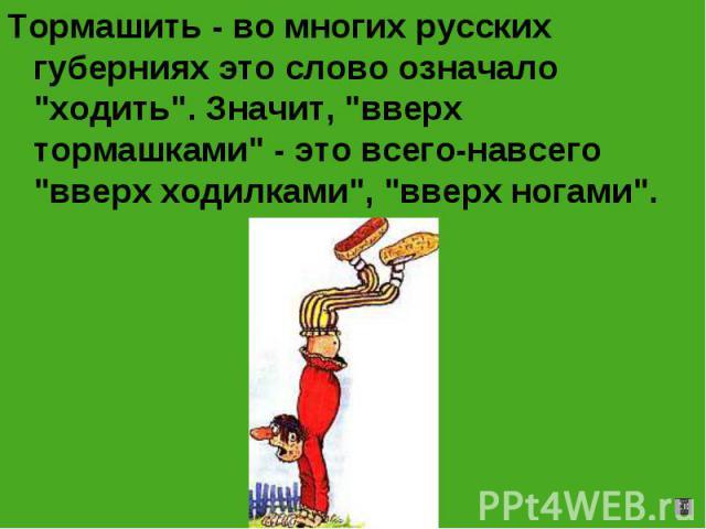Тормашить - во многих русских губерниях это слово означало