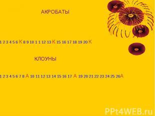 АКРОБАТЫ1 2 3 4 5 6 К 8 9 10 1 1 12 13 К 15 16 17 18 19 20 К КЛОУНЫ1 2 3 4 5 6 7