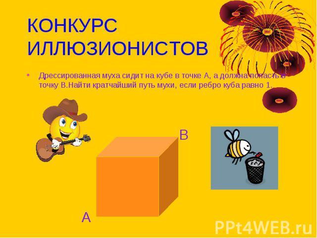 КОНКУРС ИЛЛЮЗИОНИСТОВ Дрессированная муха сидит на кубе в точке А, а должна попасть в точку В.Найти кратчайший путь мухи, если ребро куба равно 1.