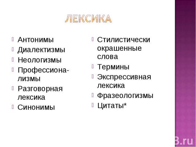 Лексика АнтонимыДиалектизмыНеологизмыПрофессиона-лизмыРазговорная лексикаСинонимыСтилистически окрашенные словаТерминыЭкспрессивная лексикаФразеологизмыЦитаты*