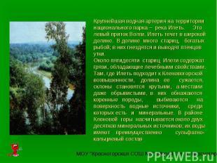 Крупнейшая водная артерия на территории национального парка – река Илеть. Это ле