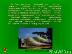 На базе источника «Зеленый ключ» построен санаторий «Кленовая Гора», который фун