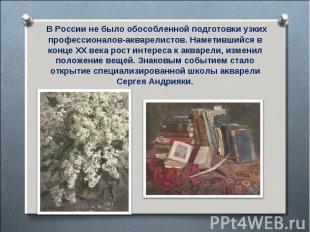 В России не было обособленной подготовки узких профессионалов-акварелистов. Наме