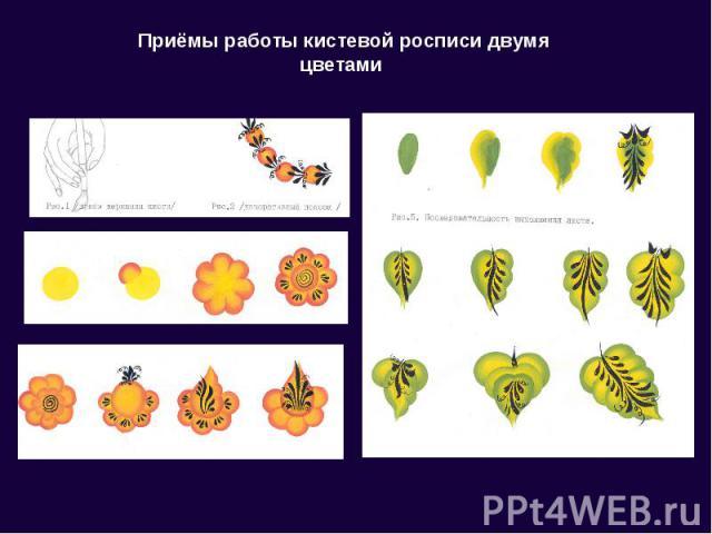 Приёмы работы кистевой росписи двумя цветами