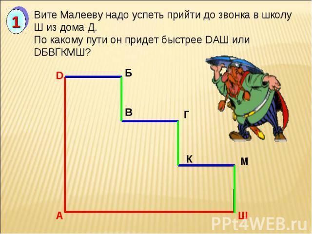 Вите Малееву надо успеть прийти до звонка в школу Ш из дома Д. По какому пути он придет быстрее DАШ или DБВГКМШ?