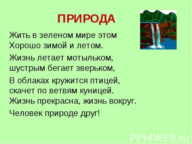 ПРИРОДА Жить в зеленом мире этом Хорошо зимой и летом. Жизнь летает мотыльком, шустрым бегает зверьком, В облаках кружится птицей, скачет по ветвям куницей. Жизнь прекрасна, жизнь вокруг. Человек природе друг!