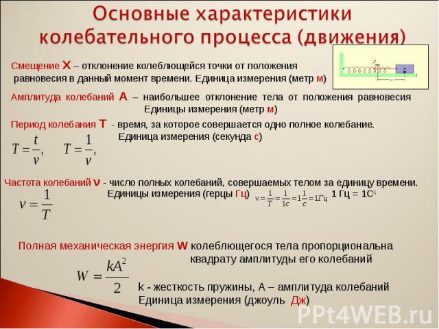 Основные характеристики колебательного процесса (движения) Смещение Х – отклонение колеблющейся точки от положения равновесия в данный момент времени. Единица измерения (метр м)Амплитуда колебаний А – наибольшее отклонение тела от положения равновес…