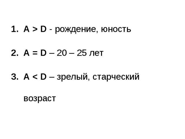 А > D - рождение, юностьA = D – 20 – 25 летA < D – зрелый, старческий возраст