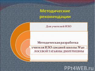Методическиерекомендации Для учителей ИЗОМетодическая разработкаучителя ИЗО сред
