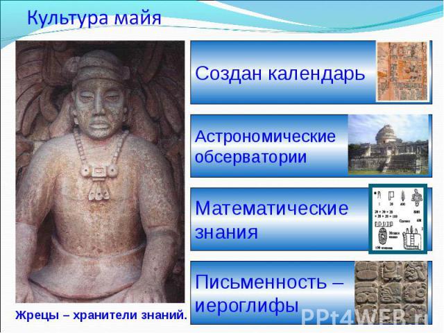 Культура майя Жрецы – хранители знаний.Создан календарьАстрономические обсерваторииМатематические знанияПисьменность – иероглифы