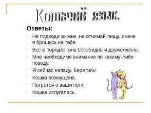 Кошачий язык. Ответы: Не подходи ко мне, не отнимай пищу, иначе я брошусь на теб