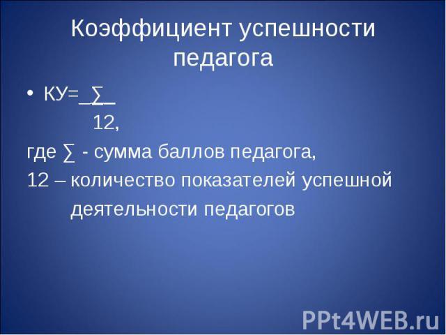 Коэффициент успешности педагога КУ=_∑_ 12,где ∑ - сумма баллов педагога, 12 – количество показателей успешной деятельности педагогов