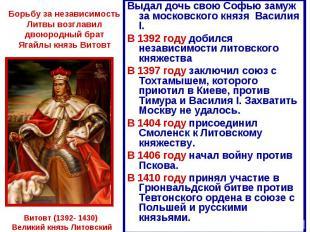Борьбу за независимость Литвы возглавил двоюродный брат Ягайлы князь Витовт Выда