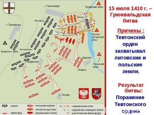 15 июля 1410 г. – Грюнвальдская битва Причины :Тевтонский орден захватывал литов