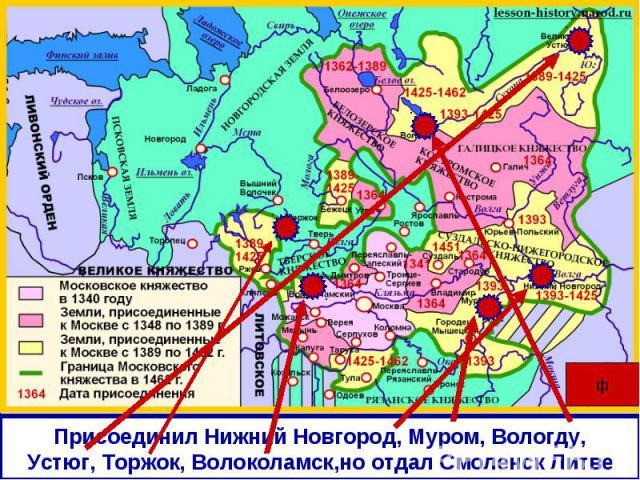 Присоединил Нижний Новгород, Муром, Вологду,Устюг, Торжок, Волоколамск,но отдал Смоленск Литве