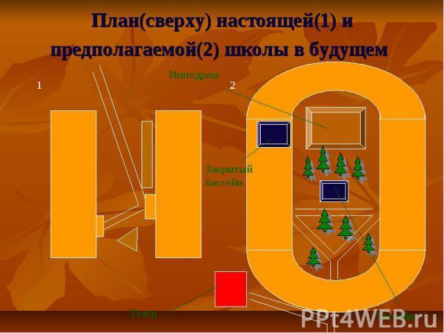 План(сверху) настоящей(1) и предполагаемой(2) школы в будущем