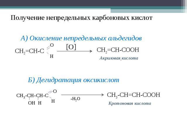 Получение непредельных карбоновых кислотА) Окисление непредельных альдегидовБ) Дегидратация оксикислот