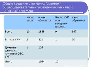 Общие сведения о вечерних (сменных) общеобразовательных учреждениях (на начало 2