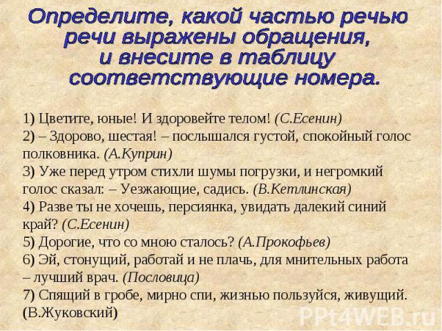 Определите, какой частью речью речи выражены обращения, и внесите в таблицу соответствующие номера.1) Цветите, юные! И здоровейте телом! (С.Есенин)2) – Здорово, шестая! – послышался густой, спокойный голос полковника. (А.Куприн)3) Уже перед утром ст…