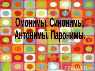 Омонимы. Синонимы. Антонимы. Паронимы.