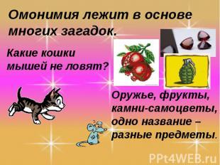 Омонимия лежит в основе многих загадок.Какие кошки мышей не ловят?Оружье, фрукты