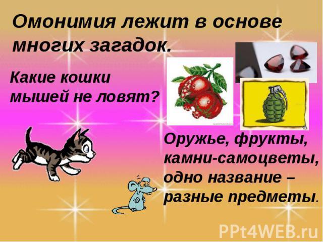 Омонимия лежит в основе многих загадок.Какие кошки мышей не ловят?Оружье, фрукты, камни-самоцветы, одно название – разные предметы.