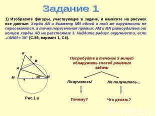 Задание 1 1) Изобразите фигуры, участвующие в задаче, и нанесите на рисунок все