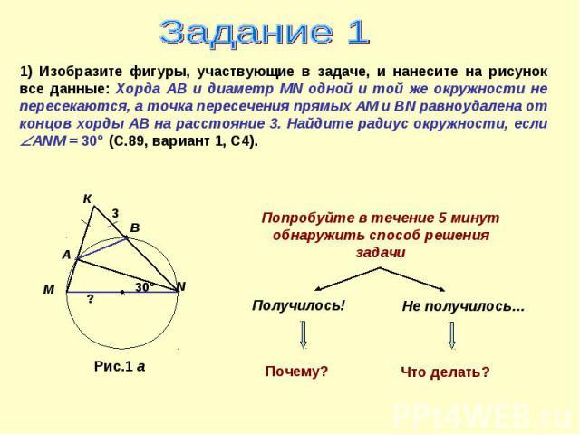 Задание 1 1) Изобразите фигуры, участвующие в задаче, и нанесите на рисунок все данные: Хорда АВ и диаметр MN одной и той же окружности не пересекаются, а точка пересечения прямых АМ и ВN равноудалена от концов хорды АВ на расстояние 3. Найдите ради…