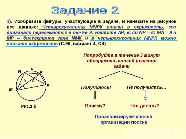 Задание 21). Изобразите фигуры, участвующие в задаче, и нанесите на рисунок все данные: Четырехугольник МNРК вписан в окружность, его диагонали пересекаются в точке А. Найдите АР, если NР = 6; МА = 9 и МР – биссектриса угла NМК и в четырехугольник М…