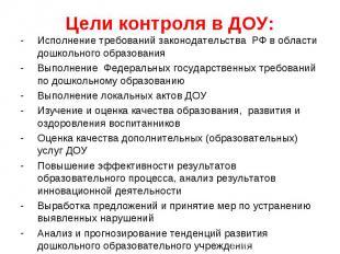 Цели контроля в ДОУ: Исполнение требований законодательства РФ в области дошколь