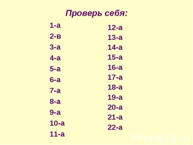 Проверь себя: 1-а2-в3-а4-а5-а6-а7-а8-а9-а10-а11-а12-а13-а14-а15-а16-а17-а18-а19-а20-а21-а22-а