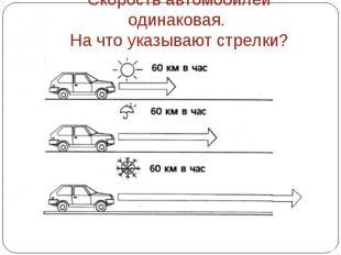 Скорость автомобилей одинаковая. На что указывают стрелки?