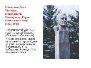 Памятник- бюст Тимофею Николаевичу Подгорному, Герою Советского Союза (1925-1944
