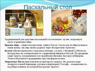 Пасхальный стол Традиционный для христиан пасхальный стол включает: кулич, творо