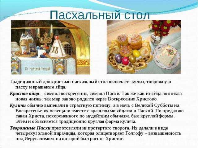Пасхальный стол Традиционный для христиан пасхальный стол включает: кулич, творожную пасху и крашеные яйца.Красное яйцо – символ воскресения, символ Пасхи. Так же как из яйца возникла новая жизнь, так мир заново родился через Воскресение Христово.Ку…
