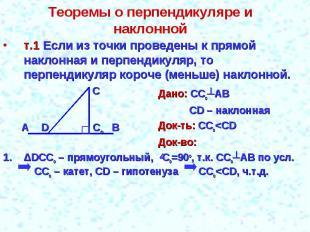 Теоремы о перпендикуляре и наклонной т.1 Если из точки проведены к прямой наклон