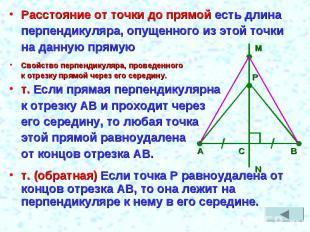 Расстояние от точки до прямой есть длинаперпендикуляра, опущенного из этой точки