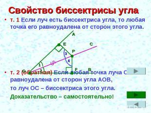 Свойство биссектрисы угла т. 1 Если луч есть биссектриса угла, то любая точка ег